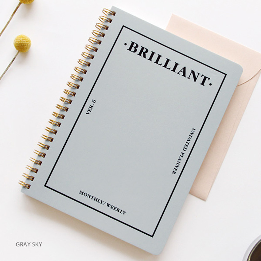 Gray sky - Brilliant spiral undated weekly diary scheduler