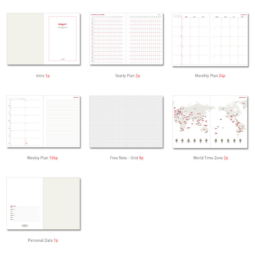 Composition of Brilliant spiral undated weekly diary scheduler