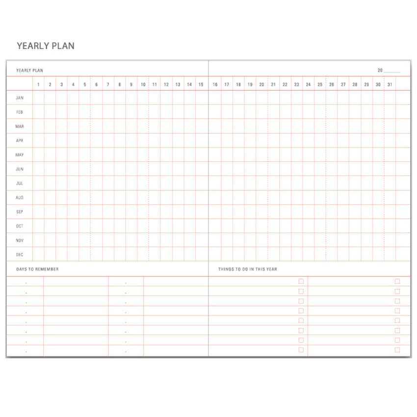 Yearly plan - Be still undated daily planner
