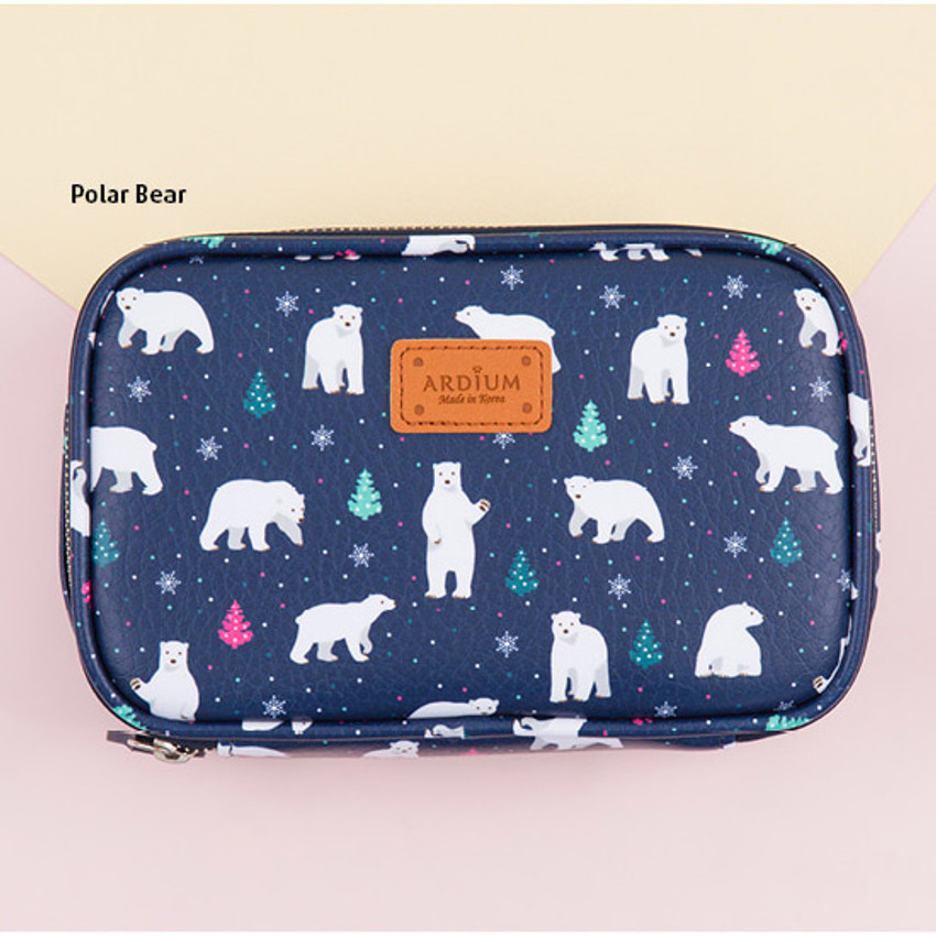Polar bear - Pattern cube zip around multi pouch