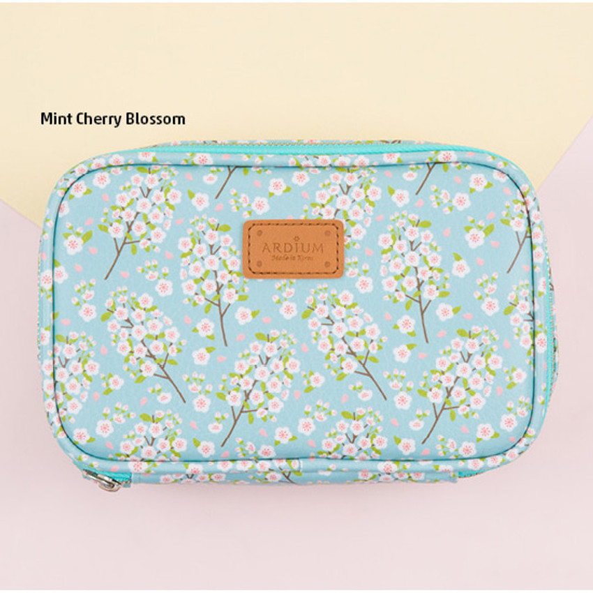 Mint cherry blossom - Pattern cube zip around multi pouch