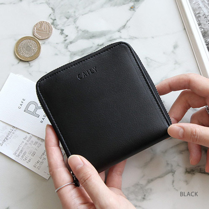 Black - Caily zip around small wallet