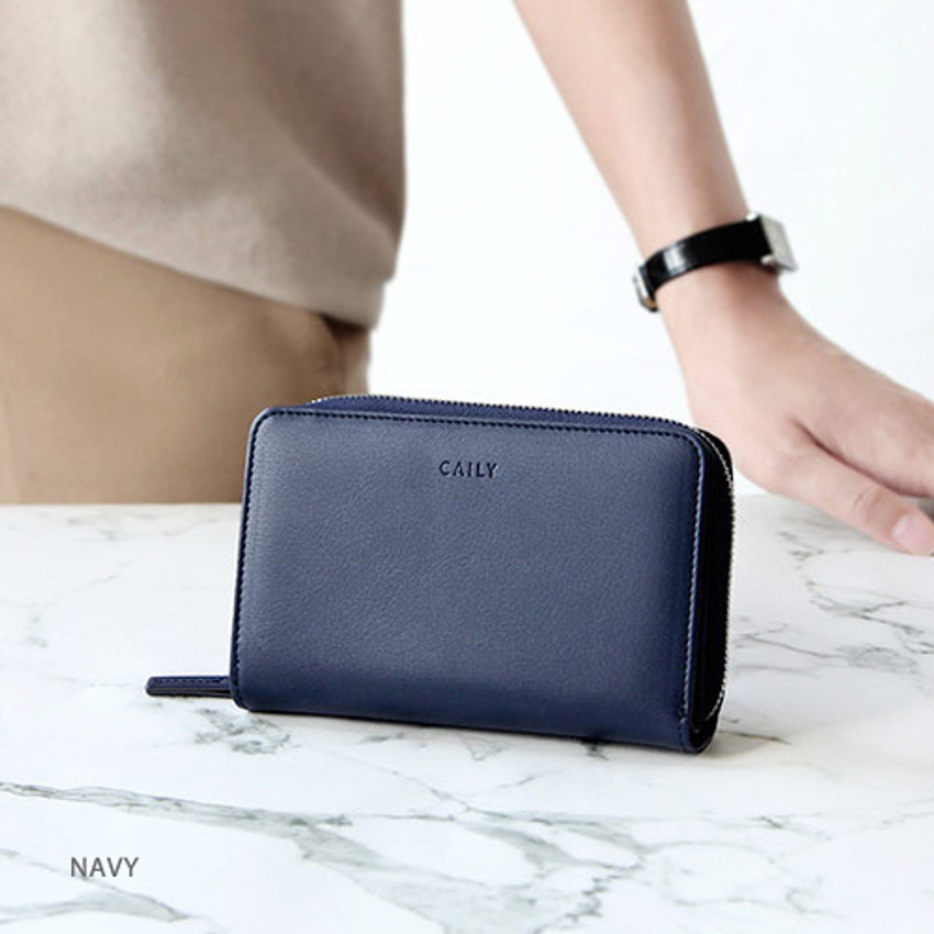 Navy - Caily zip around accordion medium leather wallet