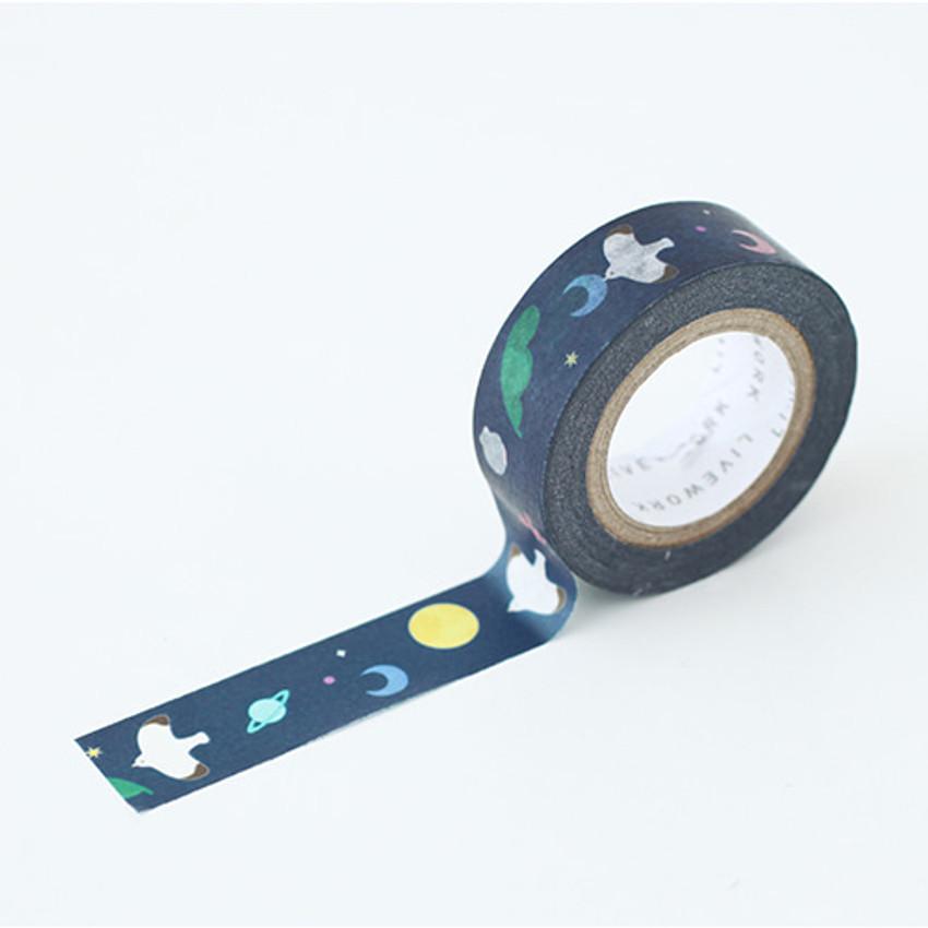 "Piyo one summer night 0.59""X11yd single deco masking tape"