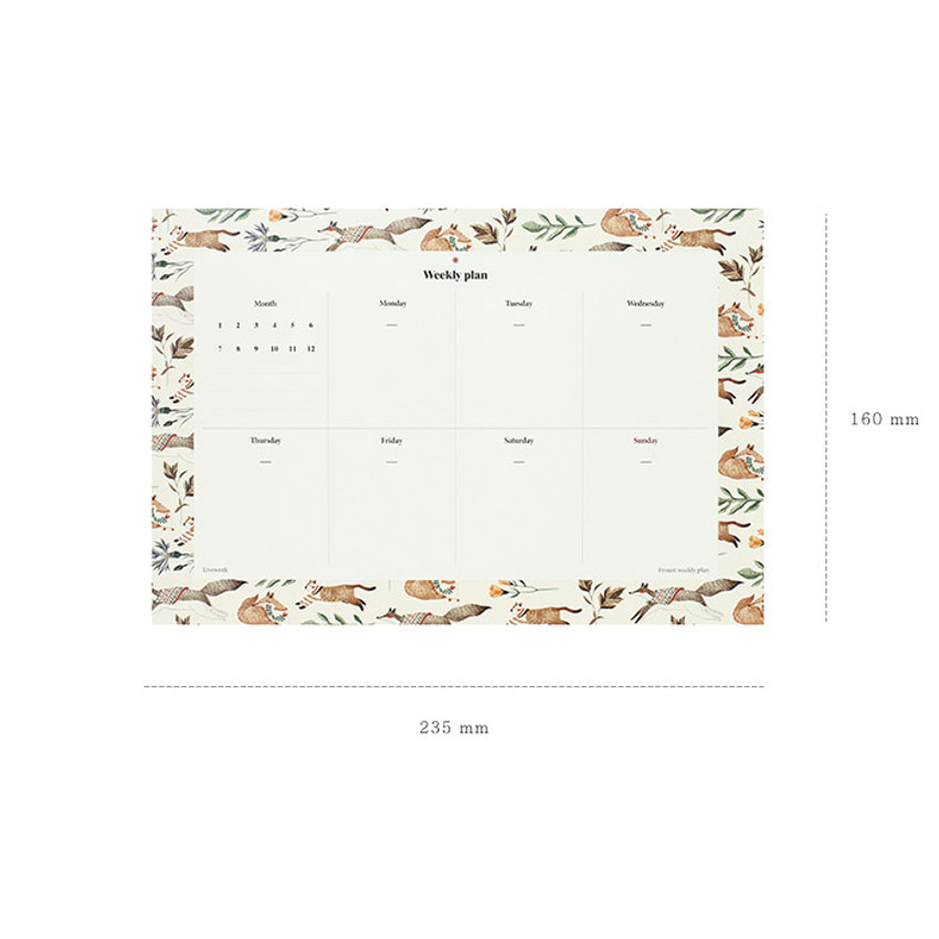 Size of Prust pattern undated weekly desk planner