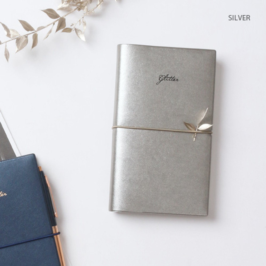Silver - Glitter small undated weekly diary