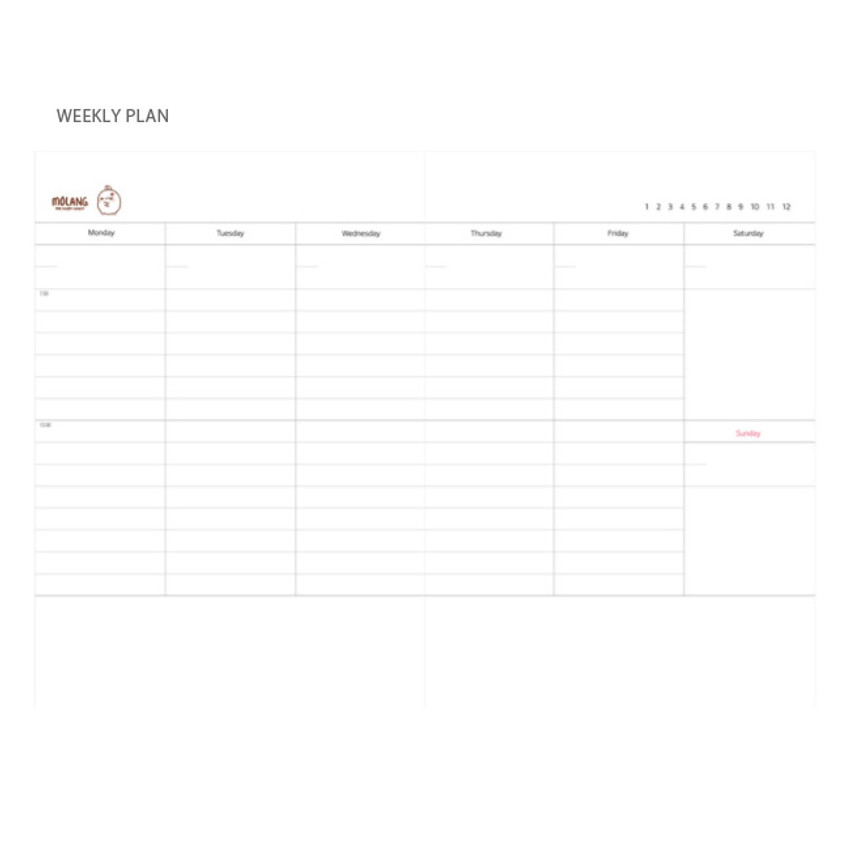 Weekly plan - Molang undated weekly planner scheduler ver2