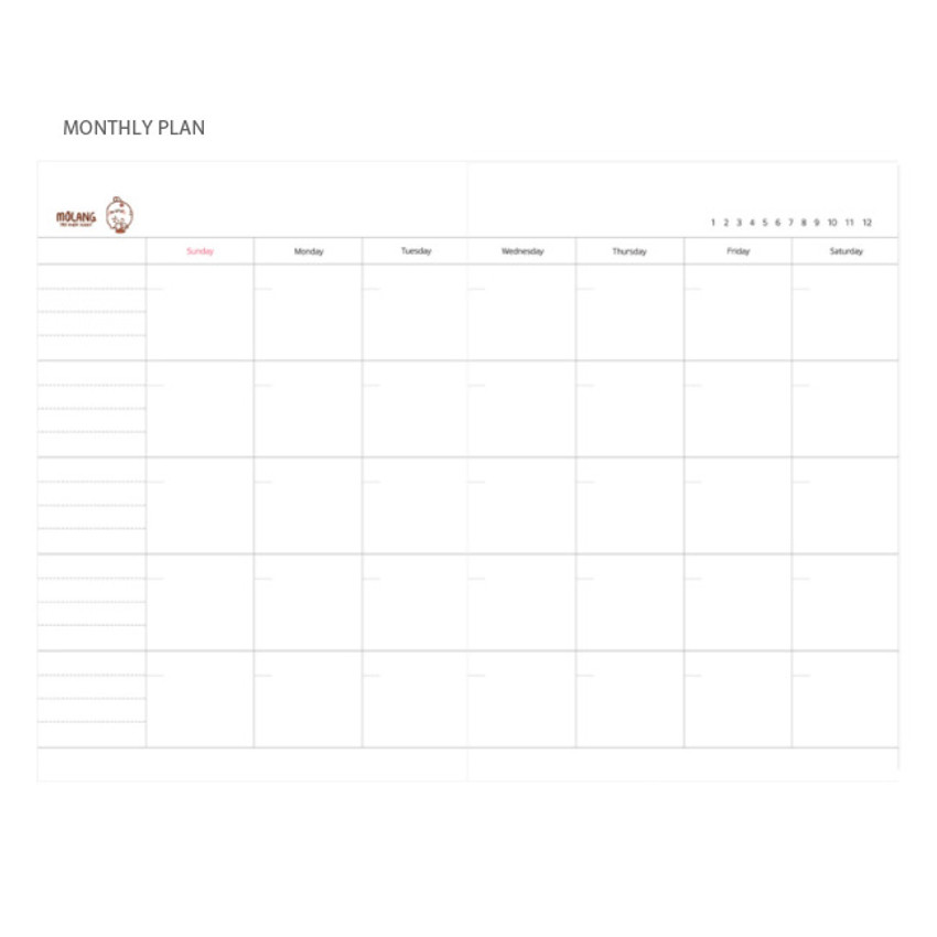 Monthly plan - Molang undated weekly planner scheduler ver2