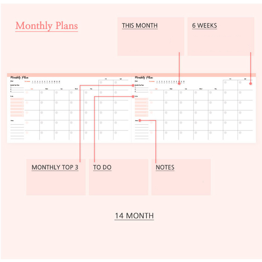 Monthly plan - Days desk hardcover undated weekly planner