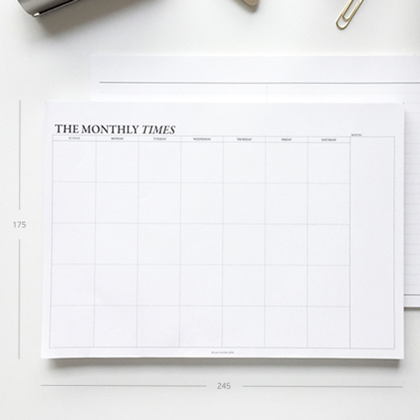 Size of The Monthly times desk planner notepad