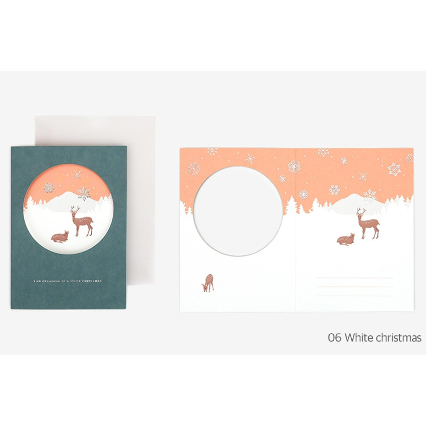 White christmas - Christmas illustration folding message card