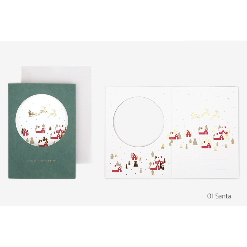 Santa - Christmas illustration folding message card