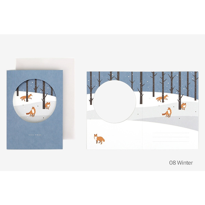Winter - Christmas illustration folding message card