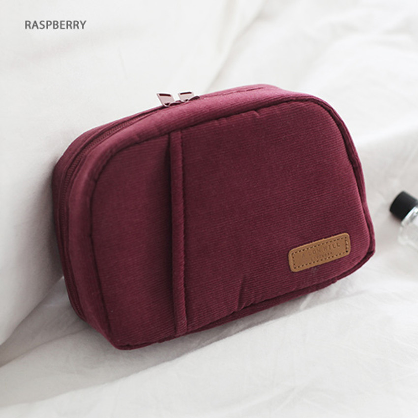 Raspberry - A low hill winter corduroy zip around small cosmetic pouch