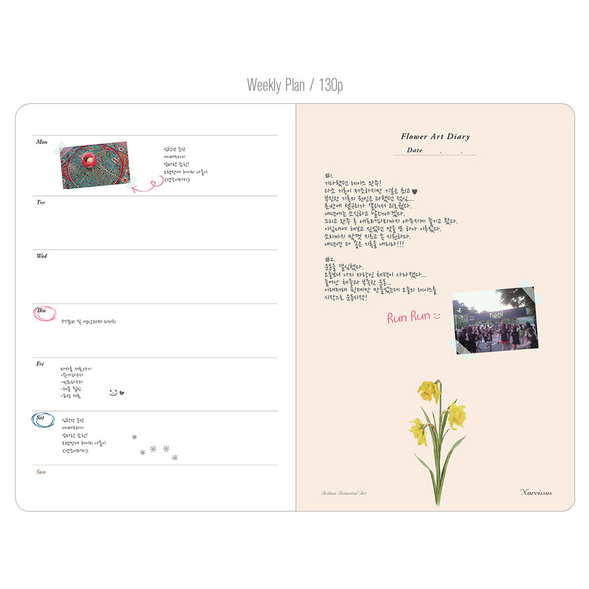 Weekly plan - Flower illustration undated weekly diary