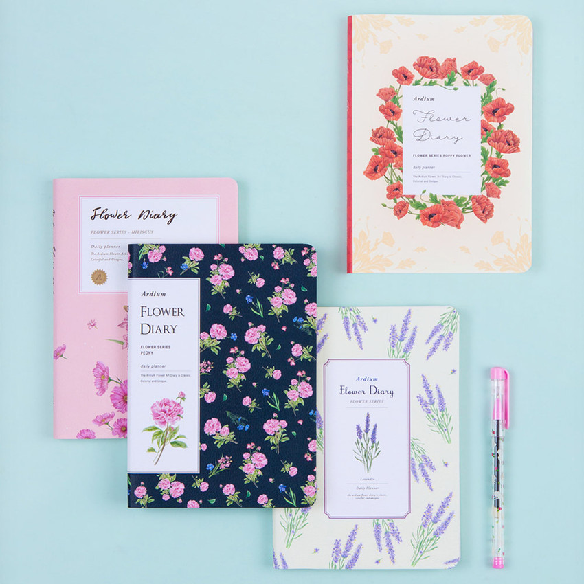 Flower illustration undated weekly diary