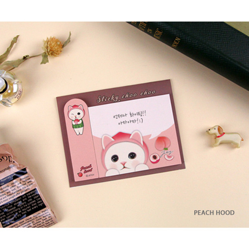 Peach hood - Choo Choo cat sticky memo notes bookmark