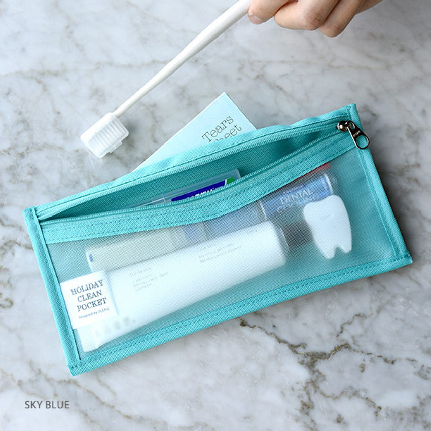 Sky blue - Holiday travel clean pocket mesh pouch