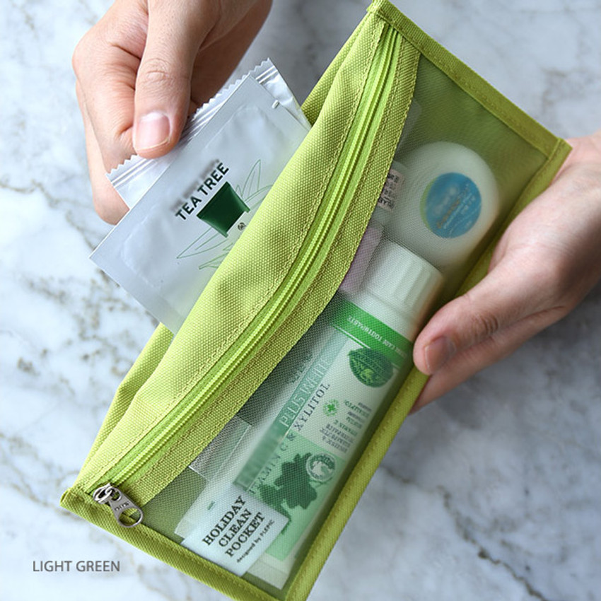 Light green - Holiday travel clean pocket mesh pouch