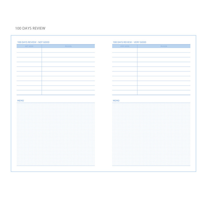 100 days review - Simple 100 days study planner scheduler