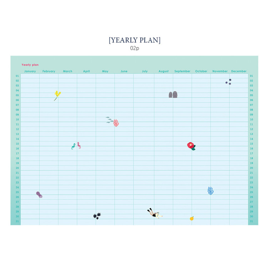 Yearly plan - Bon Bon small undated monthly planner