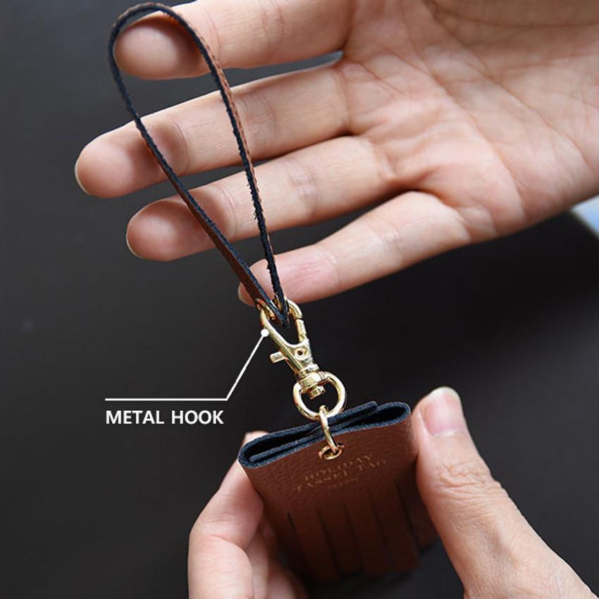 Metal hook - Holiday cowhide leather tassel luggage name tag