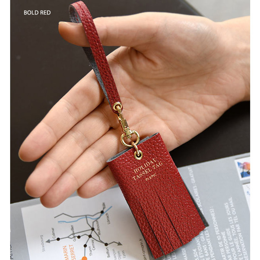 Bold red - Holiday cowhide leather tassel luggage name tag