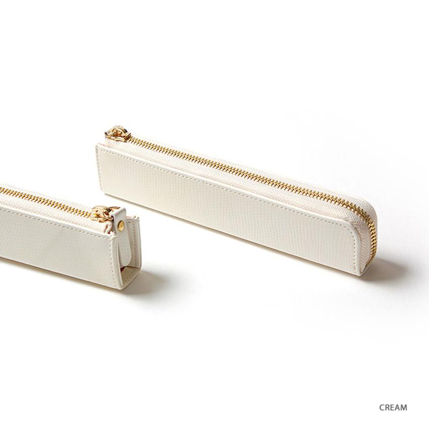 Cream - Simple compact zipper pencil case