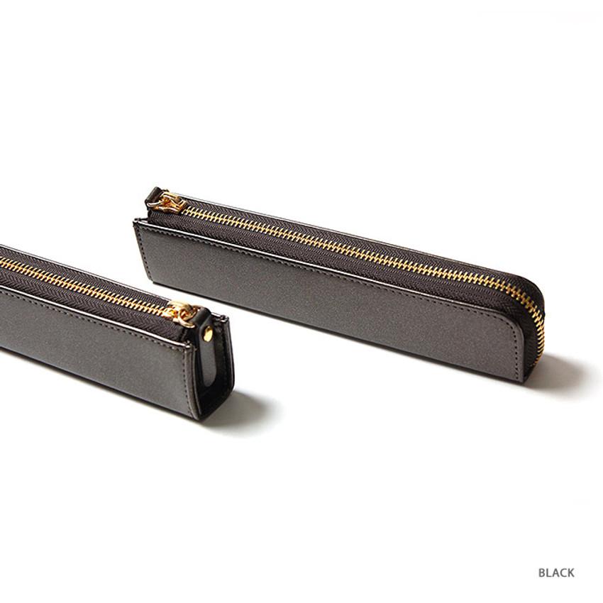 Black - Simple compact zipper pencil case