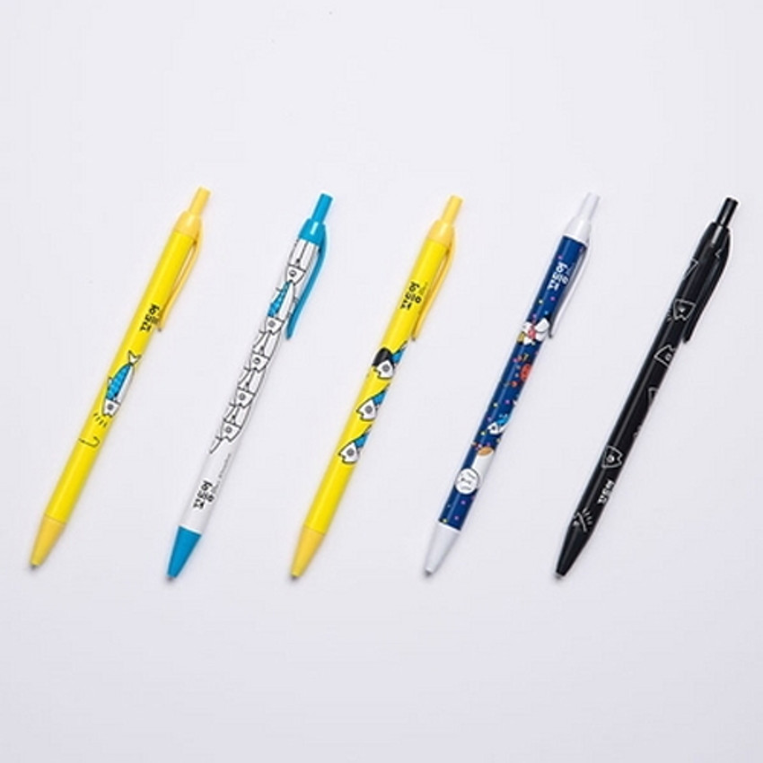 Ggo deung o retractable black ballpoint pen 0.38mm