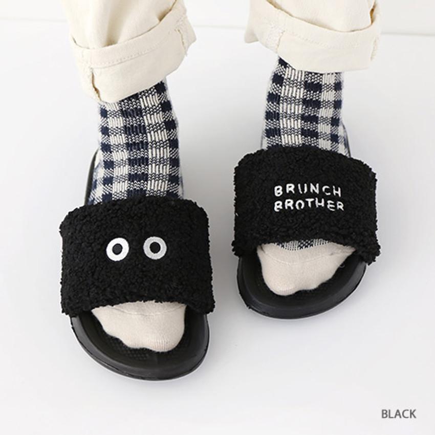 Black - Brunch brother pom pom slide sandal