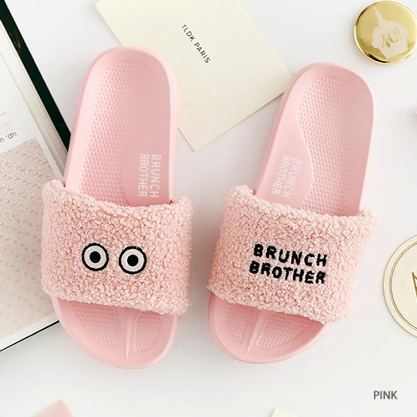 Pink - Brunch brother pom pom slide sandal