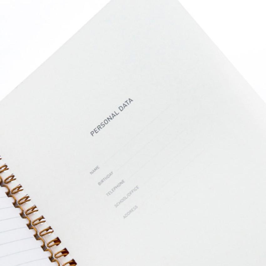 Personal data - Ggo deung o spiral bound lined notebook