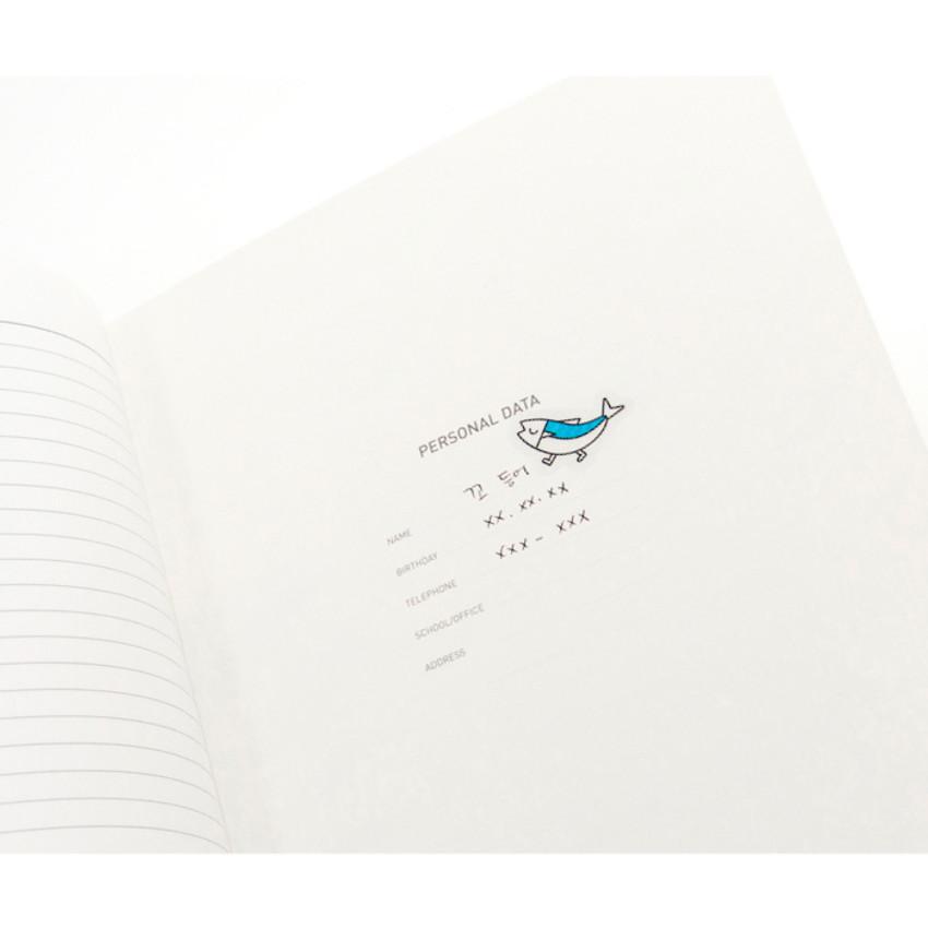 Personal data - Ggo deung o friends lined notebook