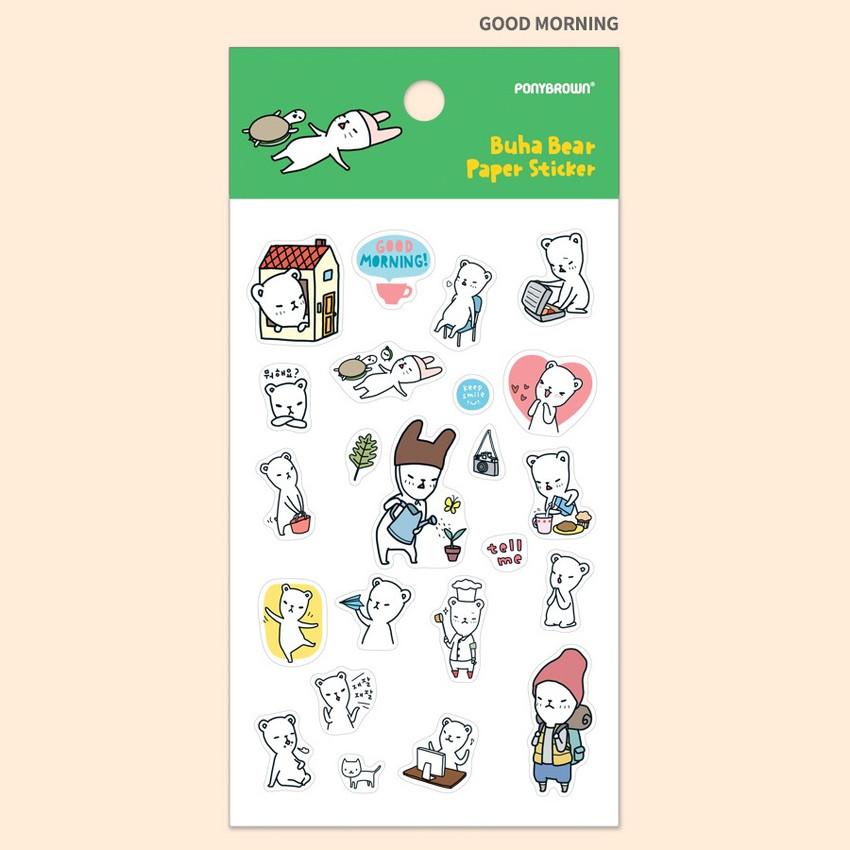 Good morning - PONYBROWN Buhabear cute illustration paper sticker
