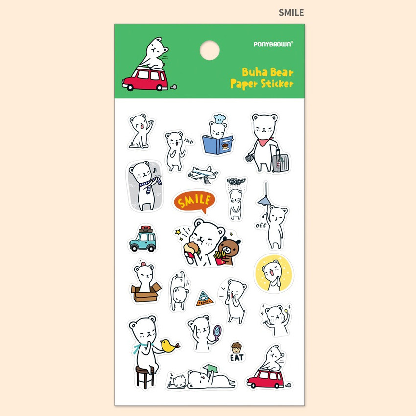 Smile - PONYBROWN Buhabear cute illustration paper sticker