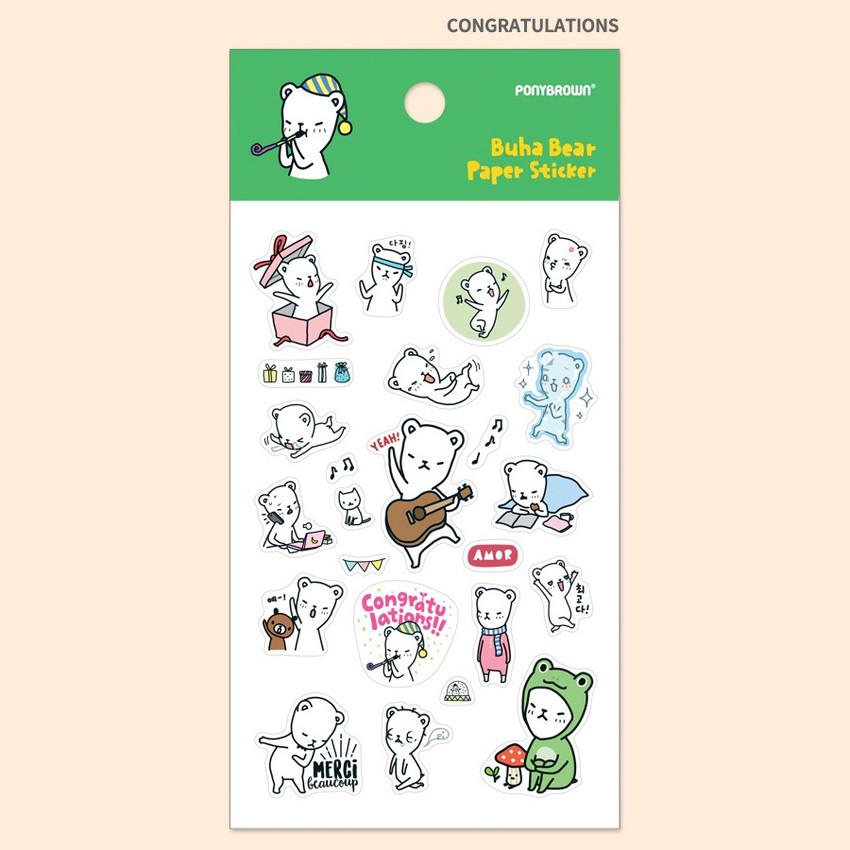 Congratulations - PONYBROWN Buhabear cute illustration paper sticker