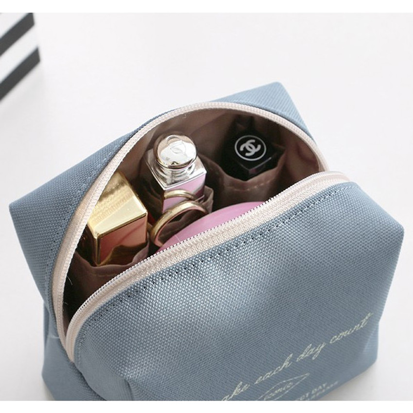 Indi blue -ICONIC Plain cosmetic makeup small zipper pouch