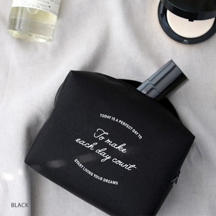 Black - ICONIC Plain cosmetic makeup medium zipper pouch
