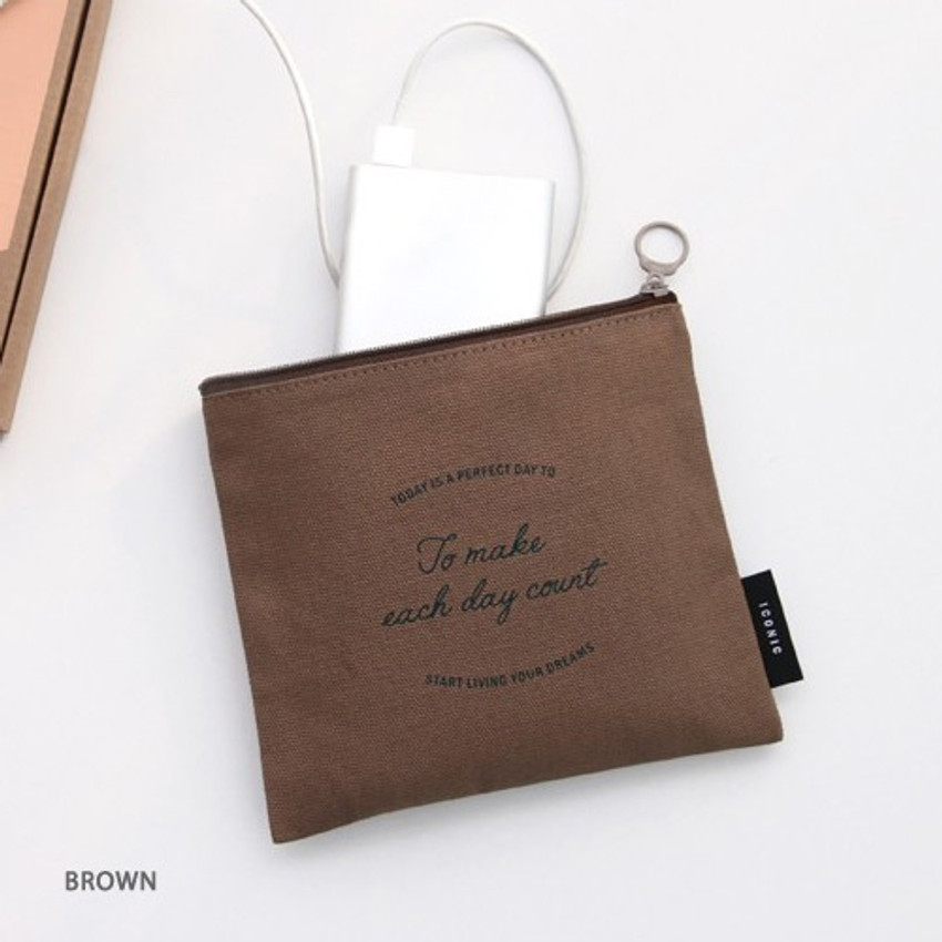 Brown - ICONIC Plain cotton flat zipper medium pouch with ring