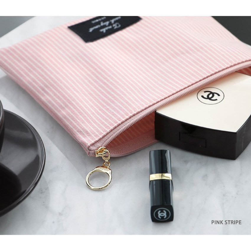 Pink stripe - ICONIC Plain cotton flat zipper medium pouch with ring