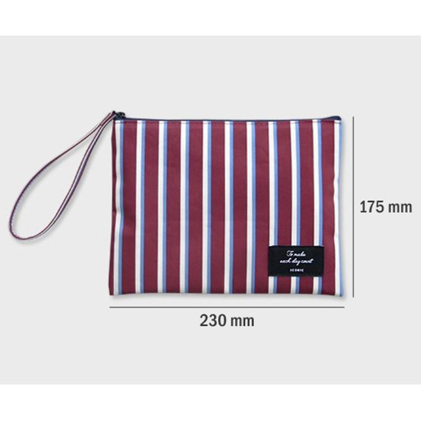 Size - ICONIC Plain cotton flat zipper large pouch with strap