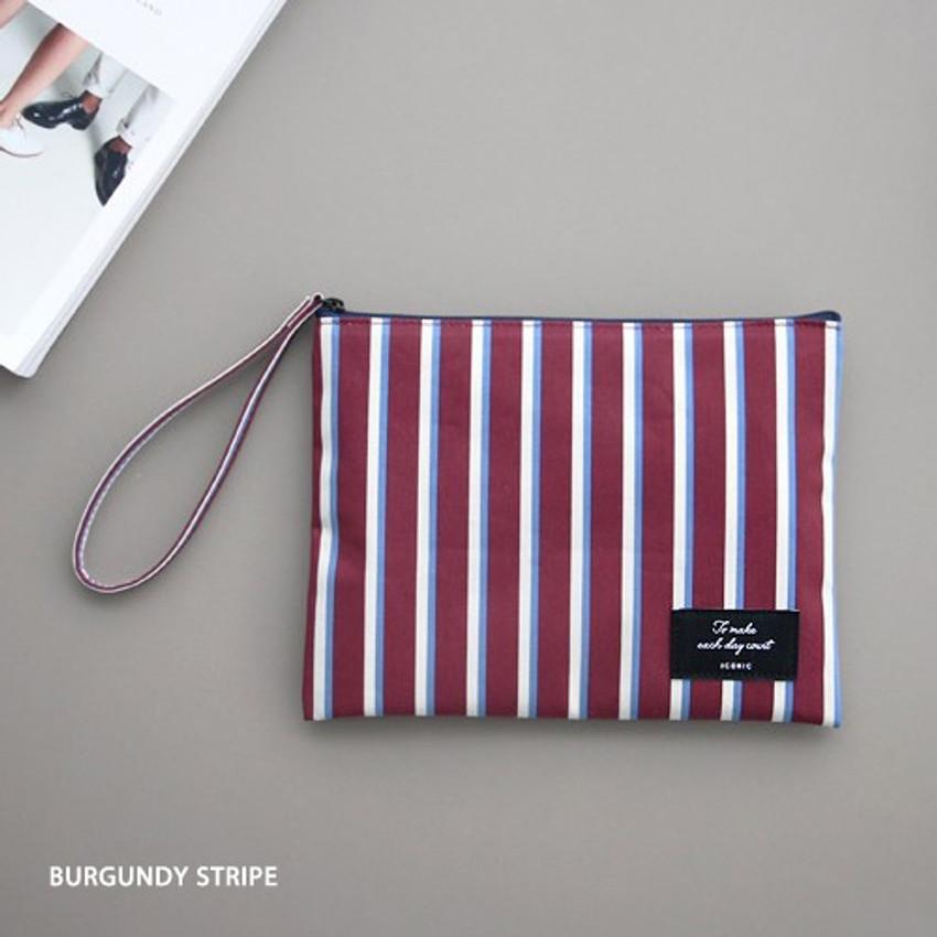 Burgundy stripe - ICONIC Plain cotton flat zipper large pouch with strap