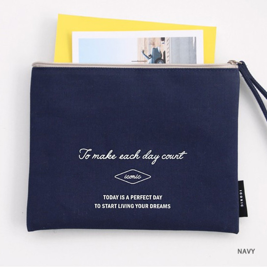 Navy - ICONIC Plain cotton flat zipper large pouch with strap