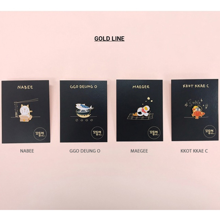 Option - DESIGN IVY Ggo deung o friends gold line pin badge