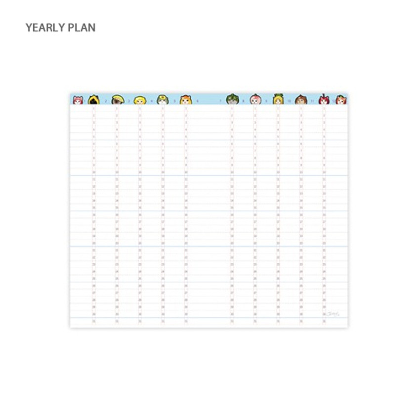 Yearly plan - Jetoy Choo choo cat fruits undated weekly diary planner