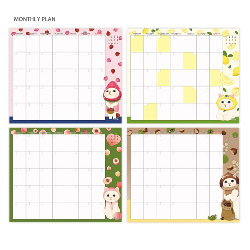 Monthly plan - Jetoy Choo choo cat fruits undated weekly diary planner