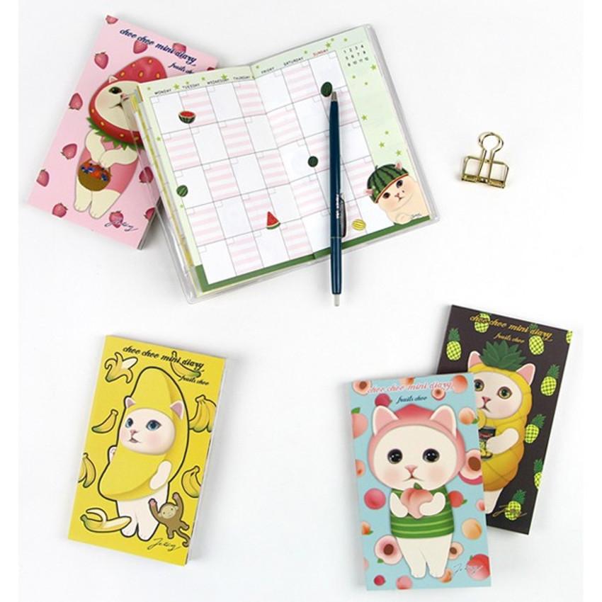Jetoy Choo choo cat fruits undated weekly diary planner