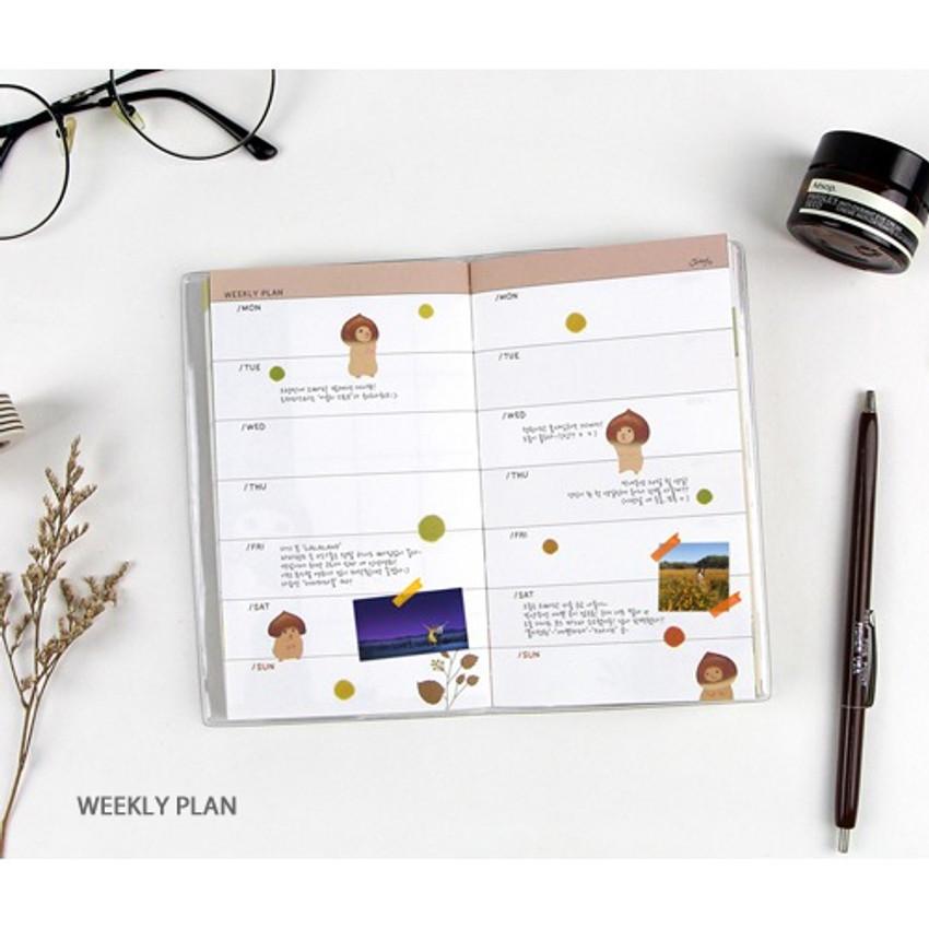 Weekly plan - Jetoy Choo choo cat fruits undated weekly diary planner