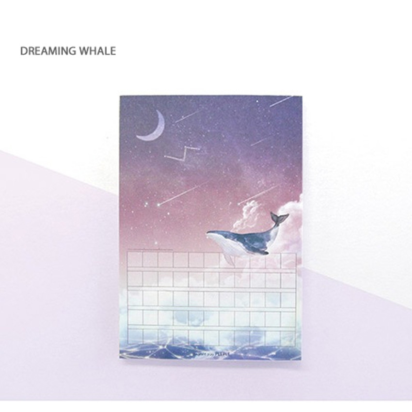 Dreaming whale - Pleple My story illustration squared manuscript memo notepad